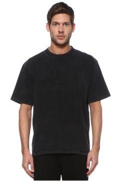 Balenciaga Erkek Antrasit Logo Baskılı Basic T-shirt Gri S EU(113464493)
