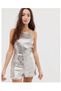 Girl In Mind - Kurzer Jumpsuit mit Pailletten und eckigem Ausschnitt - Silber(86134243)
