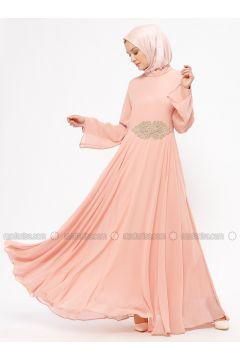 Powder - Unlined - Crew neck - Muslim Evening Dress - BÜRÜN(110313629)