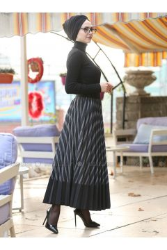 Smoke-coloured - Stripe - Skirt - İnşirah(110340191)