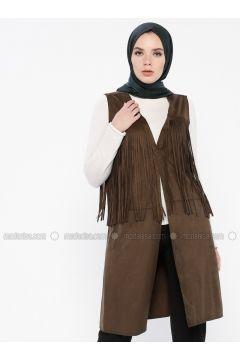 Khaki - Unlined - Vest - MOODBASİC(110339183)