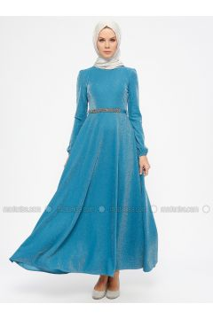 Petrol - Unlined - Crew neck - Muslim Evening Dress - Laruj(110327856)