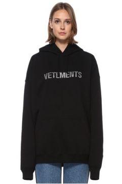 Vetements Kadın Siyah Kapüşonlu Logolu Sweatshirt XS EU(122583475)