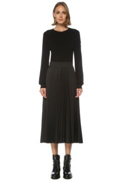 Moncler Kadın Siyah Triko Garnili Pilili Uzun Kol Midi Elbise S EU(122296624)