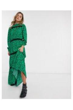 Resume - Scarlett - Vestito lungo a balze con motivo a fiori-Verde(120300303)