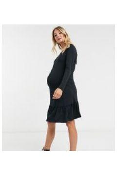 Mamalicious Maternity - Vestito T-shirt peplo nero con allacciatura sul retro(121731668)