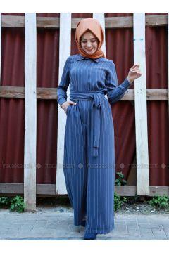 Blue - Stripe - Unlined - Point Collar - Jumpsuit - Gamze Özkul(110320625)