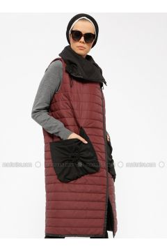Maroon - Fully Lined - Vest - Miorespiro(110335493)