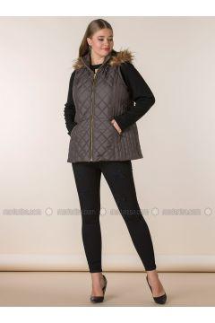 Khaki - Polo neck - Plus Size Vest - RMG(110323000)
