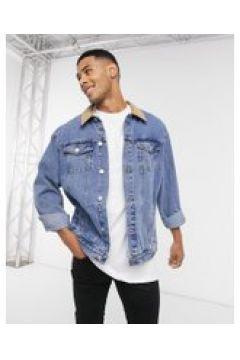 New Look - Giacca di jeans lavaggio medio con colletto a coste-Blu(121434399)