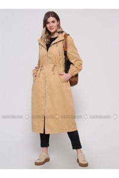 Camel - Fully Lined - Plus Size Overcoat - Alia(110318832)