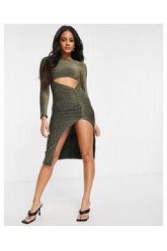 Fashionkilla - Vestito midi a maniche lunghe con cut-out oro e glitter(124801536)