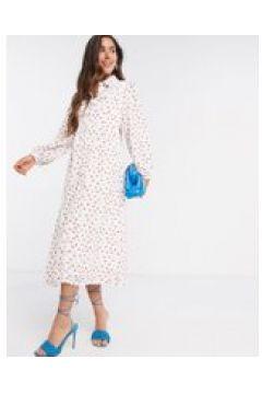 Fashion Union - Vestito chemisier midi a pois-Bianco(120301842)