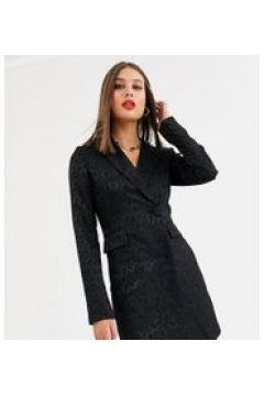 Fashion Union Tall - Vestito blazer sartoriale nero in jacquard cachemire(120330481)