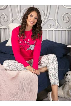Fuchsia - Crew neck - Multi - Pyjama - Strawberry(110328447)