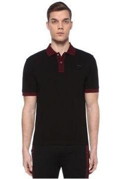 Prada Erkek Siyah Bordo Polo Yaka Dokulu T-shirt XXL EU(109148719)