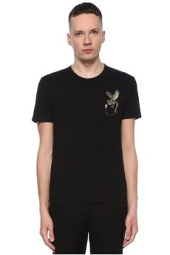 Alexander McQueen Erkek Siyah Figür İşlemeli Basic T-shirt L EU(107864130)
