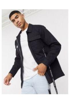The Couture Club - Camicia multitasche nera con zip e fettucce con logo-Nero(120278483)