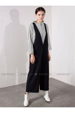 Black - V neck Collar - Jumpsuit - Akel(110331101)