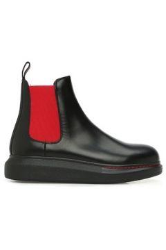 Alexander McQueen Kadın Siyah Kırmızı Bant Detaylı Deri Bot 35 EU(123319585)
