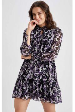 DeFacto Kadın Volan Detaylı Dik Yaka Dokuma Elbise(125933586)