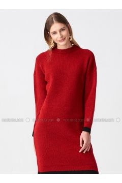 Red - Black - Crew neck - Unlined -- Dresses - Dilvin(110327586)