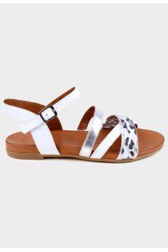 KAMMI Beyaz Hakiki Deri Kadın Comfort Sandalet(118221797)