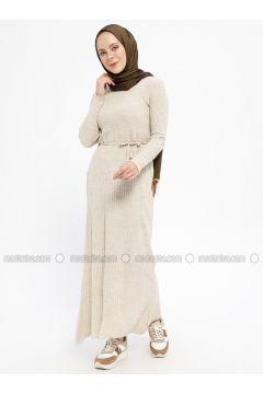 Cream - Crew neck - Unlined - Wool Blend -- Dresses - Veteks Line(110334938)