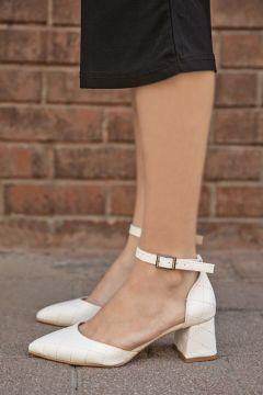 STRASWANS Kadın Beyaz Holly Deri Kapitoneli Topuklu Ayakkabı(118463503)