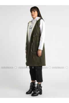 Khaki - Unlined - Cotton - Vest - MOODBASİC(110339189)