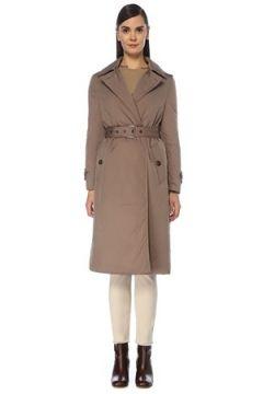 Brunello Cucinelli Kadın Vizon Kapüşonlu Kemerli Kruvaze Palto Bej 36 IT(119153438)