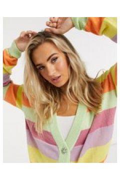 Daisy Street - Cardigan comodo con bottoni gioiello in maglia a righe arcobaleno-Multicolore(122965834)