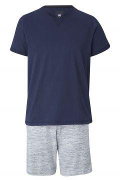 Pyjama aus T-Shirt und Shorts, navy/grau(111093480)