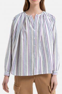 Camisa a rayas de manga larga con fruncidos CIGAR(111099293)