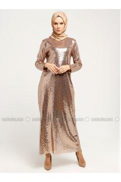 Brown - Gold - Fully Lined - Crew neck - Muslim Evening Dress - İz Otantik(110335980)