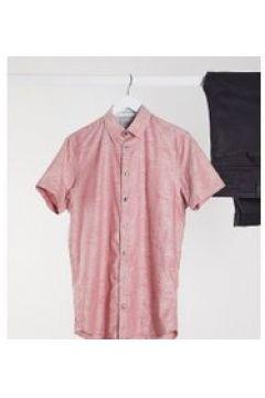 Ted Baker Tall - Camicia rosa a maniche corte con motivo jacquard con foglie(120260138)
