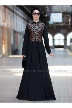 Brown - Crew neck - Fully Lined - Dresses - Rana Zenn(110331710)