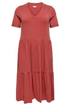 ONLY Curvy Volant Kleid Damen Rot(118274325)