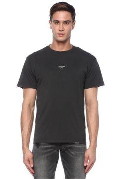 Represent Erkek Lacivert Logo Baskılı T-shirt Siyah S EU(117578385)