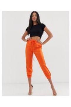Koco & K - Orangefarbene Satinhose mit Bündchen und Kordelzug-Taille - Orange(95030758)