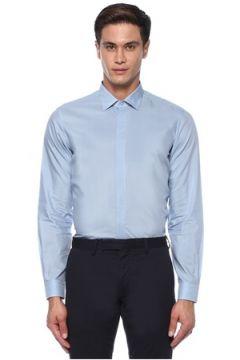 Caruso Erkek Mavi İngiliz Yaka Gömlek 42 IT(118214499)
