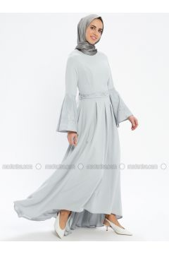 Gray - Fully Lined - Crew neck - Muslim Evening Dress - Pia(110335744)