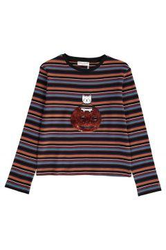 Gestreiftes T-Shirt Katze Kürbis mit Pailletten(113612300)