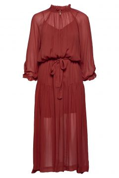 Tul Ss Long Dress Kleid Knielang Rot SECOND FEMALE(108574008)