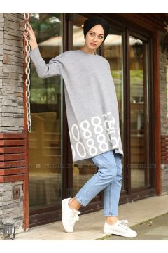 Gray - Multi - Crew neck - Cotton - Acrylic -- Jumper - Lysa Studio(110332830)