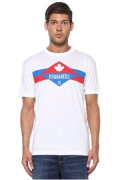 Dsquared2 Erkek Beyaz Kırmızı Logolu Basic T-shirt XL EU(119423285)
