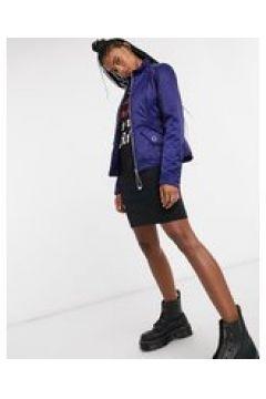 Love Moschino - Cappotto imbottito effetto raso blu(122685548)