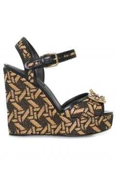 Dolce&Gabbana Kadın Bej Siyah Logo Detaylı Platformlu Espadril 36 EU(109265200)