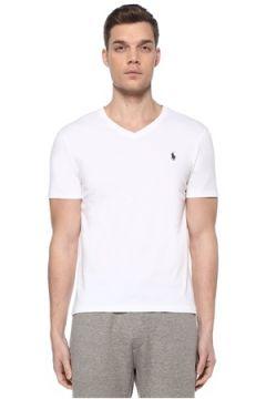 Polo Ralph Lauren Erkek Beyaz V Yaka Basic T-shirt L EU(109108541)