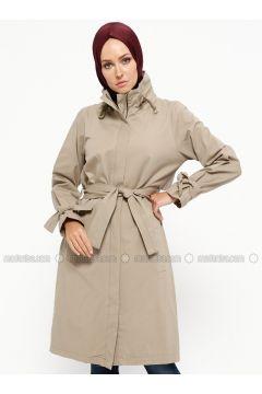 Beige - Unlined - Polo neck - Cotton - Jacket - SUEM(110315252)